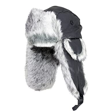 Epic Outdoor Nordic Faux Fur and Black Leather Ushanka Style Hat ... 9895f40cacc