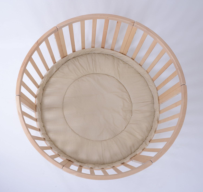 Apollo Uno Beige Strips con tapete de juego de di/ámetro 120 cm Extra grande XL Parque redonda de madera