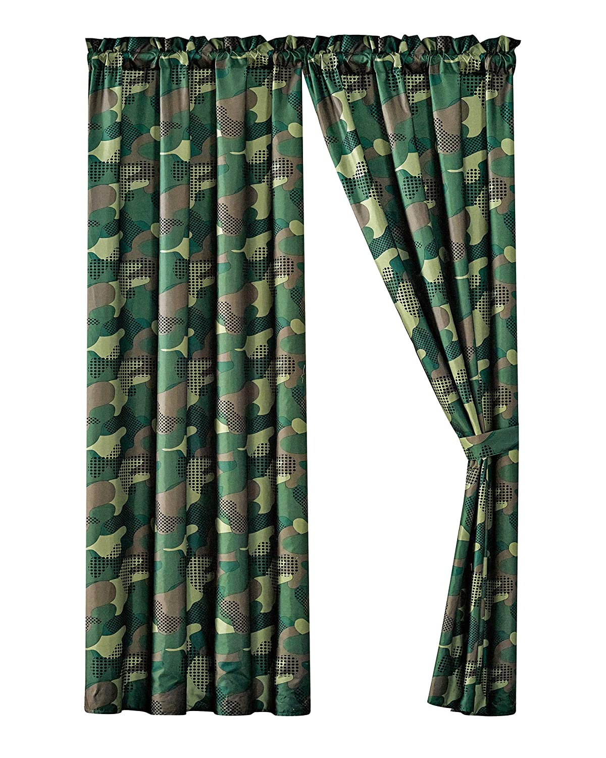 WPM Kids Collection Bedding 4 Piece Army Green Curtain Set Window Panels tie Backs Military Camo Print Design (Camouflage Military, Curtain Set)