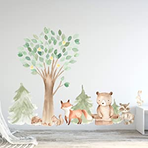 "InnovativeStencils Woodland Watercolor Wall Decal Oak Pine Tree Animal Creatures - Bear, Fox, Raccoon, Rabbit, Squirrel, Porcupine Fabric Nursery Decals #3061 (84"" Tall Tree (Including Leaves))"