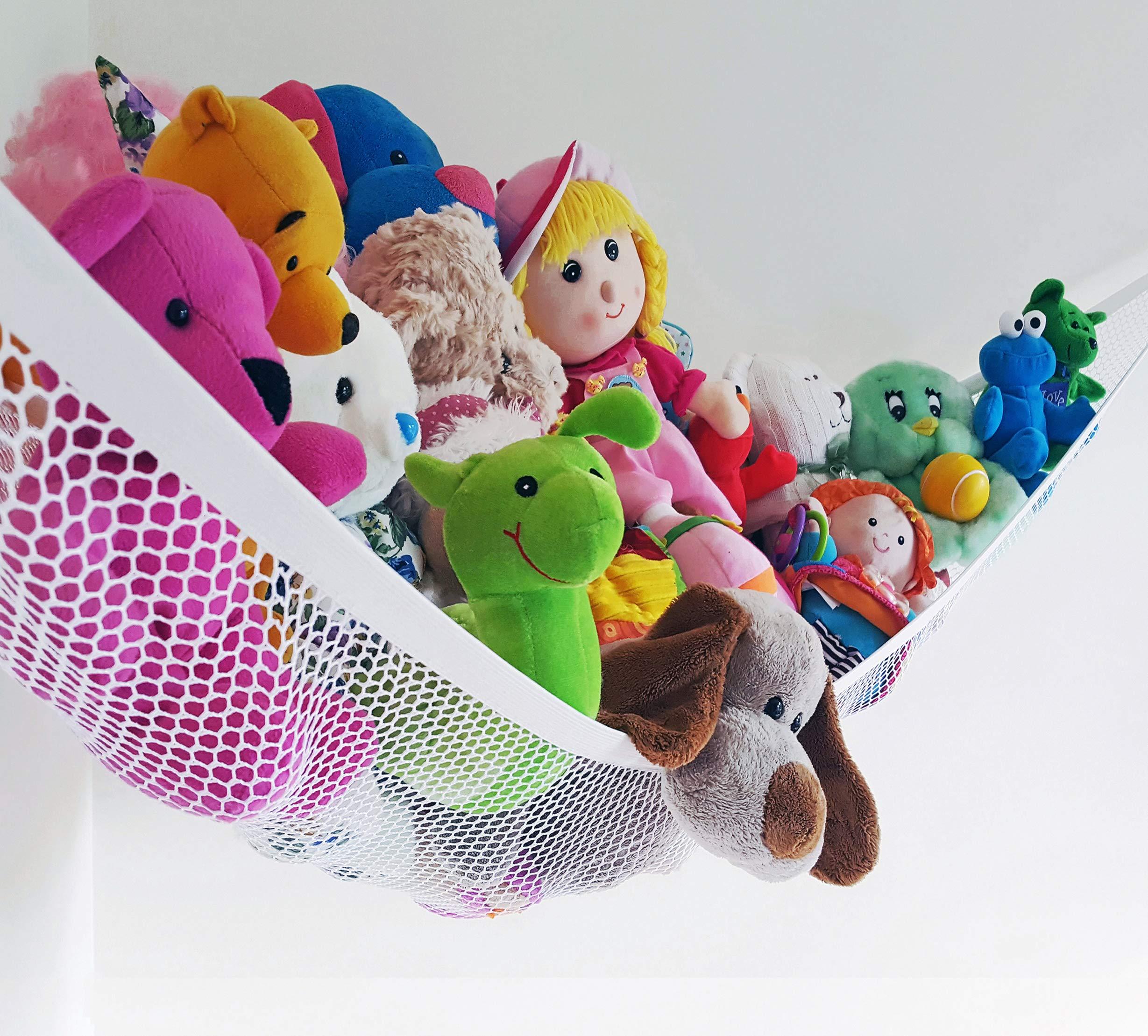 Jumbo Stuffed Animal Hammock, Corner Storage Net Organizer for Kids Toys, Games, Nursery, White by Viva Toy Hammock