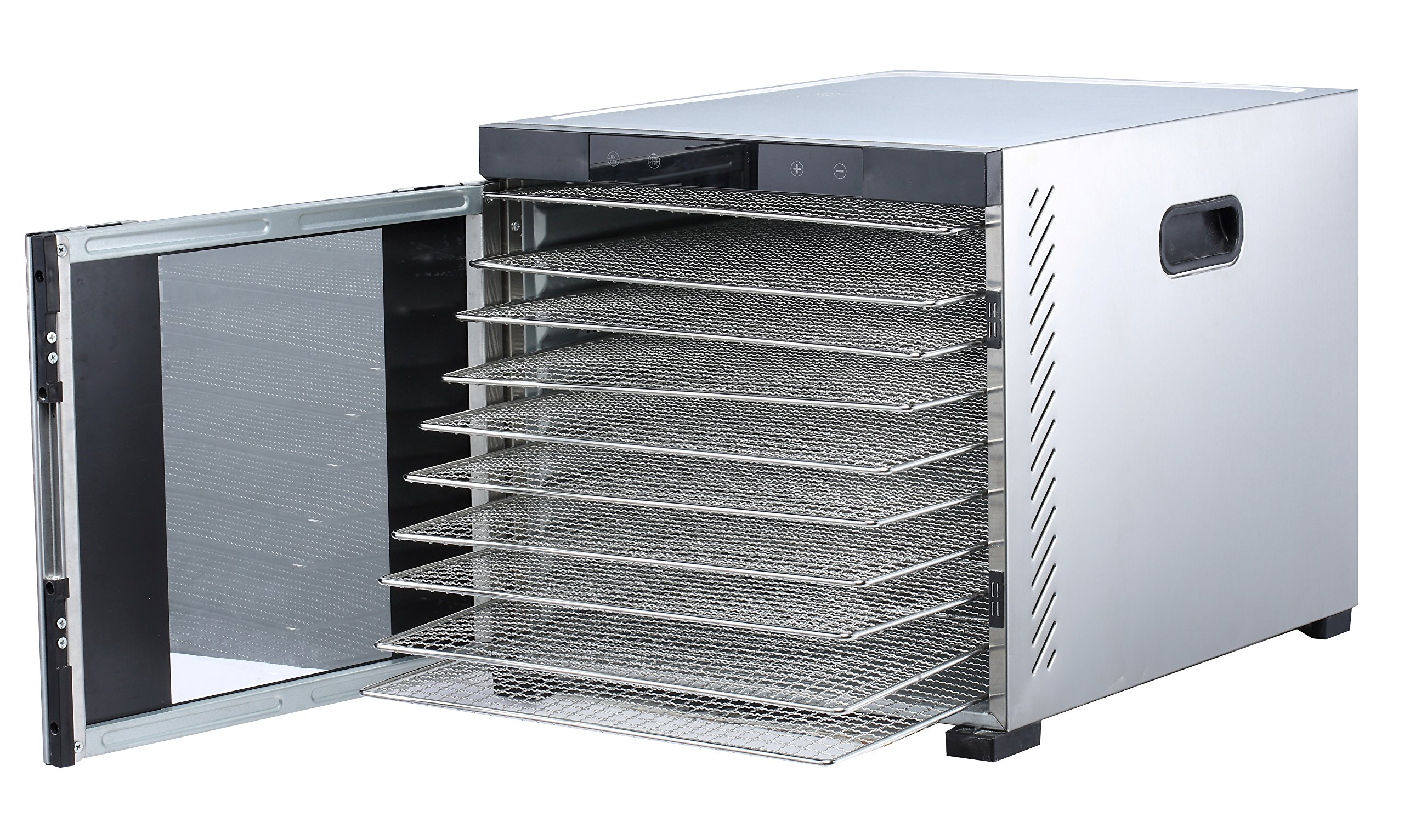 Samson''Silent'' 10 Tray Stainless Steel Dehydrator - Digital Controls - Glass Door PLUS 5 Silicone Sheets
