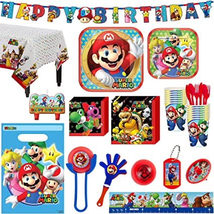 Super Mario Birthday Party Kit, Includes Happy Birthday Banner and Party Favor Pack, Serves 16, by Party City