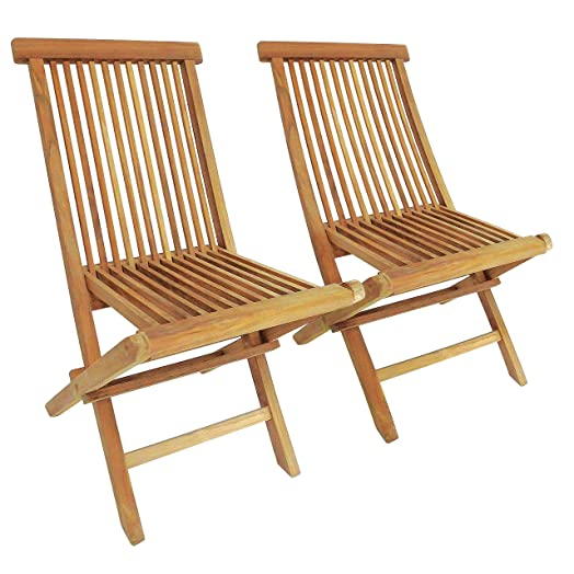 Charles Bentley Garden Pair Of Solid Wooden Teak Garden Outdoor Folding  Chairs