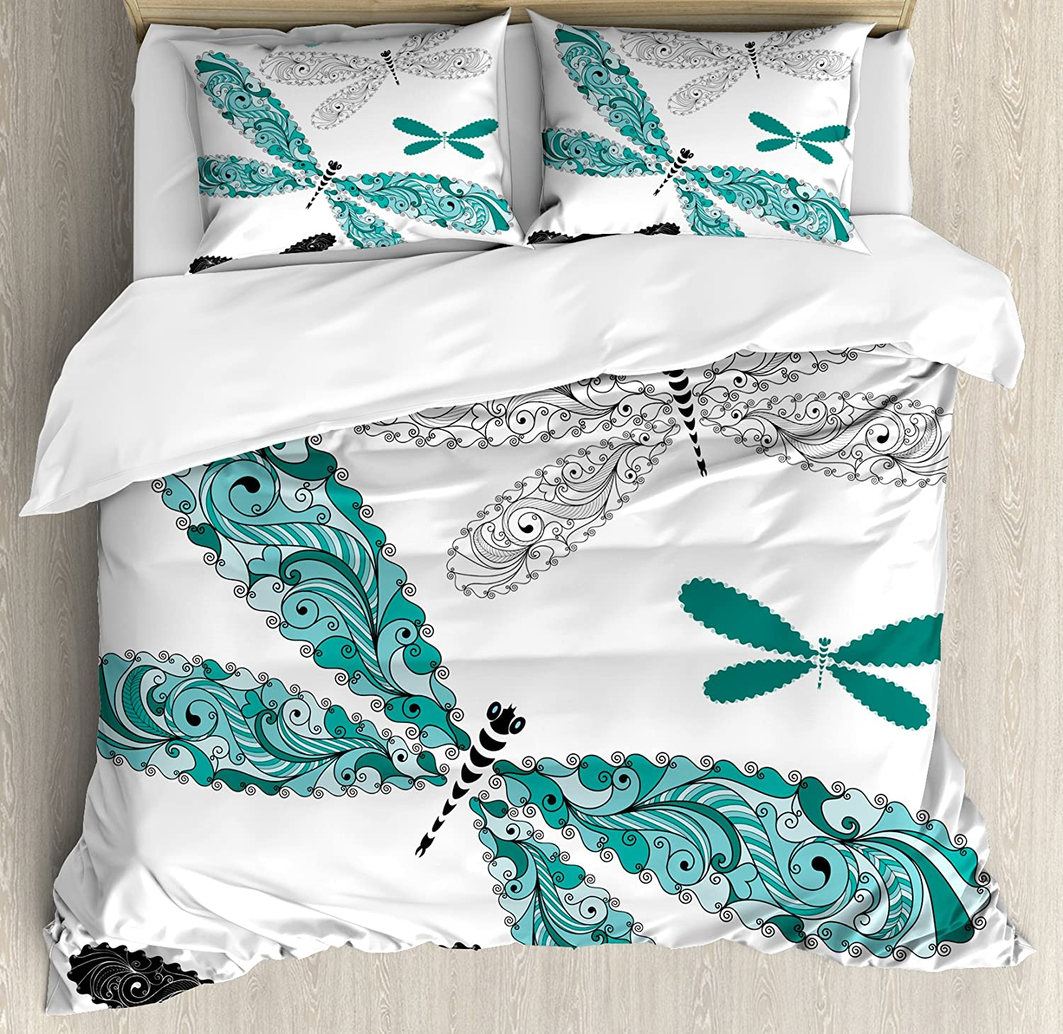 Ambesonne Dragonfly Duvet Cover Set, Ornamental Dragonfly with Lace and Damask Effects Image, Decorative 3 Piece Bedding Set with 2 Pillow Shams, Queen Size, Turquoise Black