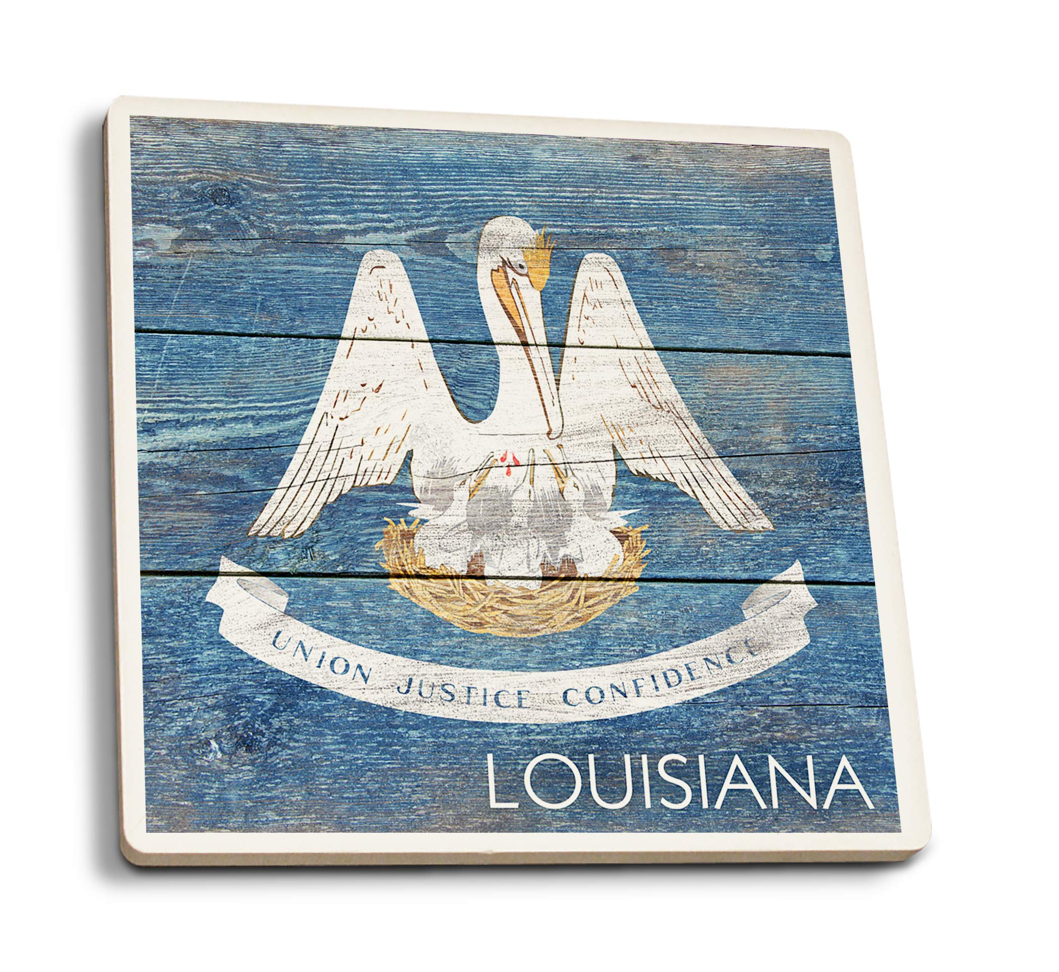 Lantern Press Rustic Louisiana State Flag (Set of 4 Ceramic Coasters - Cork-Backed, Absorbent)