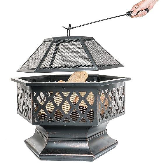 Brasero de exterior, Hoguera hexagonal para el jardín, patio o la terraza, Chimenea de leña con protector de chispas, atizador y cubierta protectora, ...