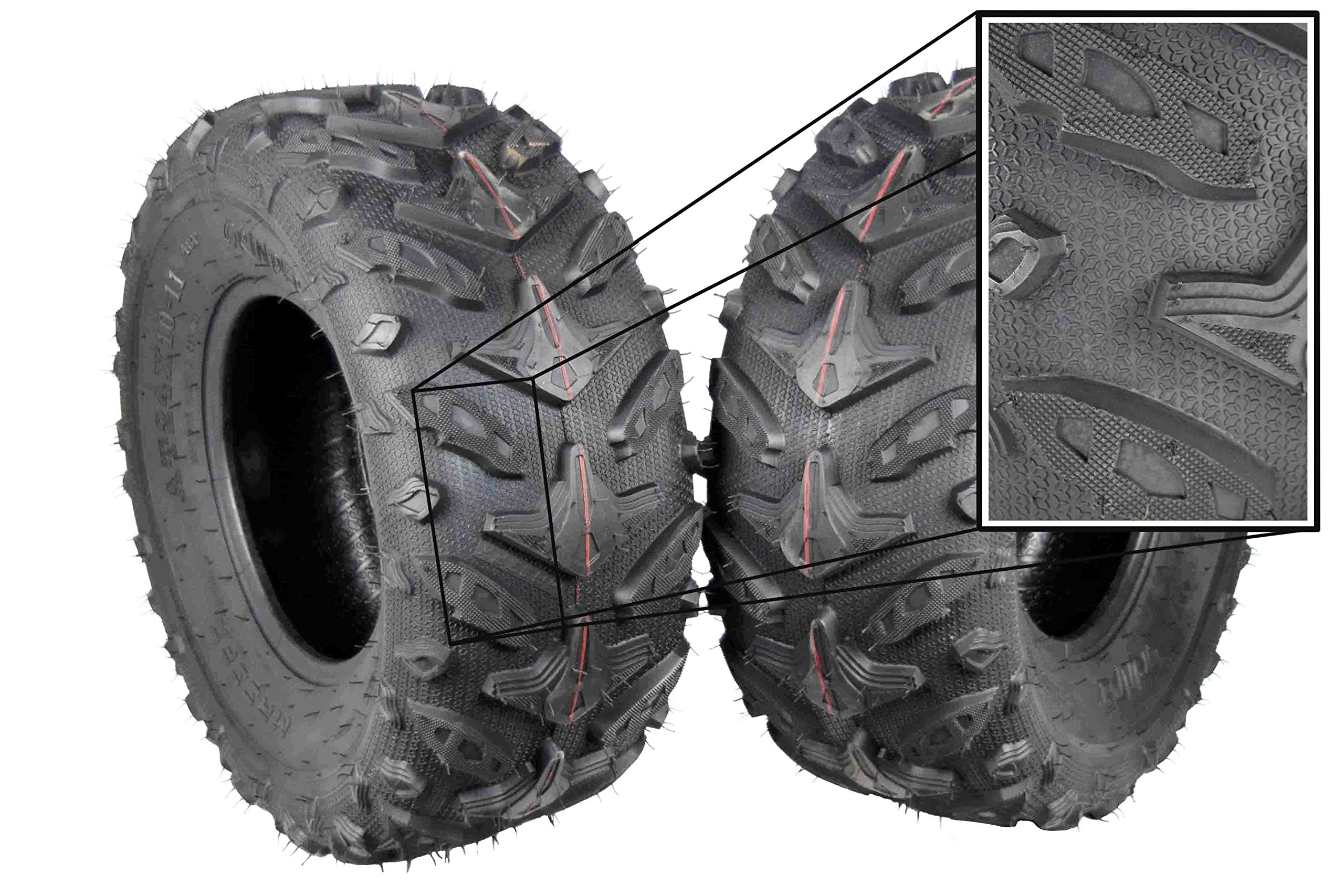 MASSFX Grinder Series ATV Dual Compound Tread Mud Sand Snow and Rock Tires (Two Rear 24x10-11) Great for Honda Rancher