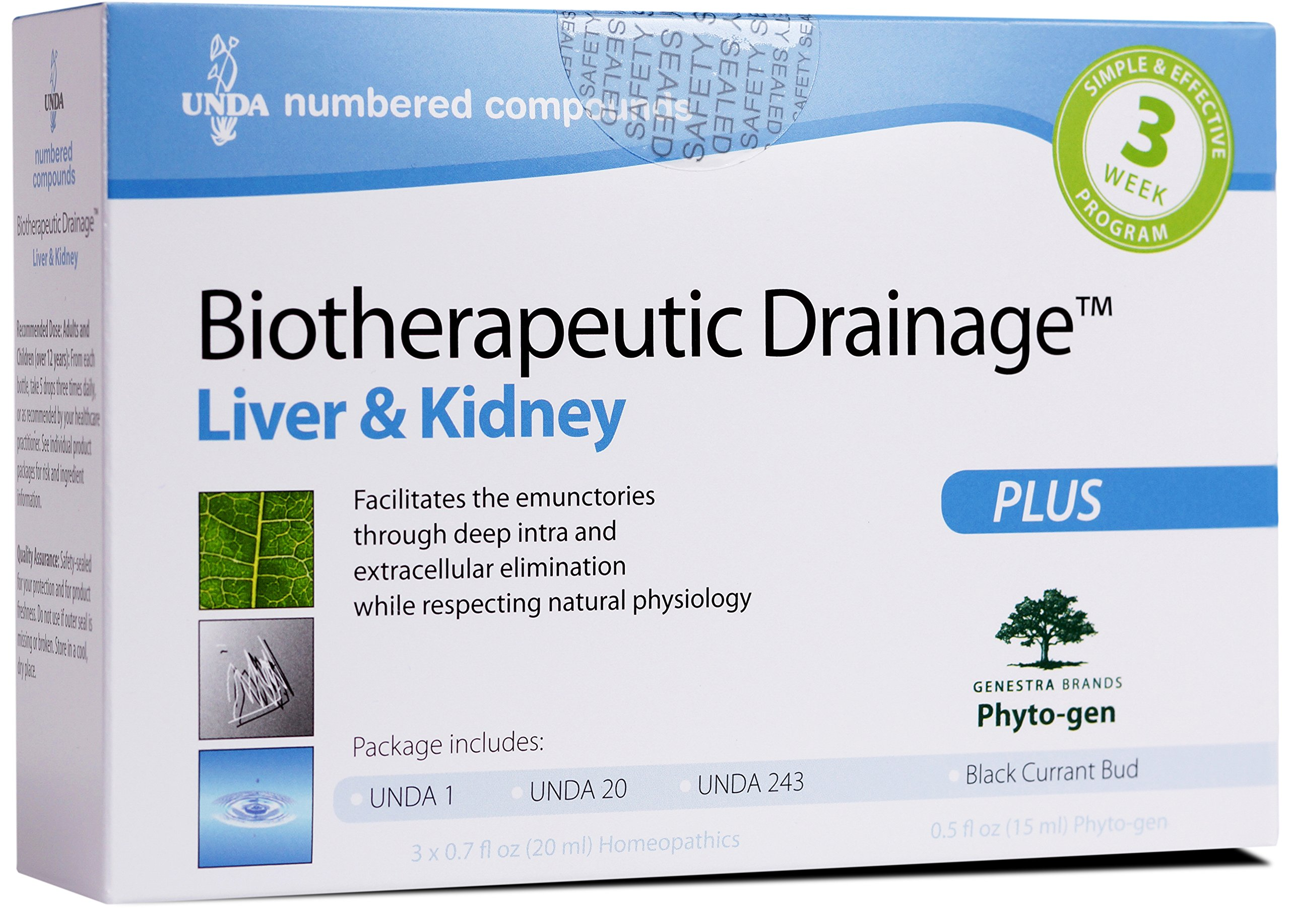 UNDA - Biotherapeutic Drainage - UNDA 1, UNDA 20, UNDA 243 & Black Currant Bud to Support Liver & Kidney*^ - 1 Package