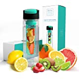Savvy Infusion Flip Top Fruit Infuser Water Bottle - 24 Ounce - Unique Leak Proof Lid - Great Gifts for Women - Includes Bonus Infused Water Recipe eBook
