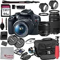 Canon EOS Rebel T7 18-55mm f/3.5-5.6 is II + 75-300mm f/4-5.6 III Kit + 64GB SD Card + Case (21pc Bundle)