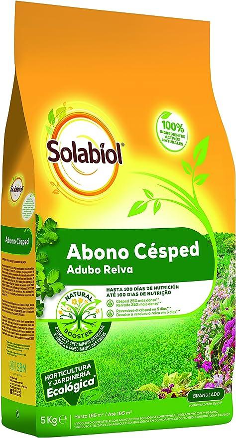Solabiol con materias primas de Origen 100% Estimulante Natural Booster. Formato 5kg Abono equilibrado para cesped Saco, Amarillo: Amazon.es: Jardín