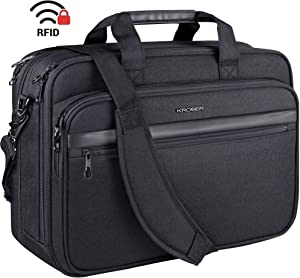 "KROSER 18"" Laptop Bag Premium Laptop Briefcase Fits Up to 17.3 Inch Laptop Expandable Water-Repellent Shoulder Messenger Bag Computer Bag for Travel/Business/School/Men/Women-Black"