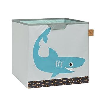 LÄSSIG Kinder Aufbewahrungskorb Aufbewahrungsbox Kinderzimmer Spielzeugkorb  Organizer Wäschekorb/Toy Cube Shark ocean