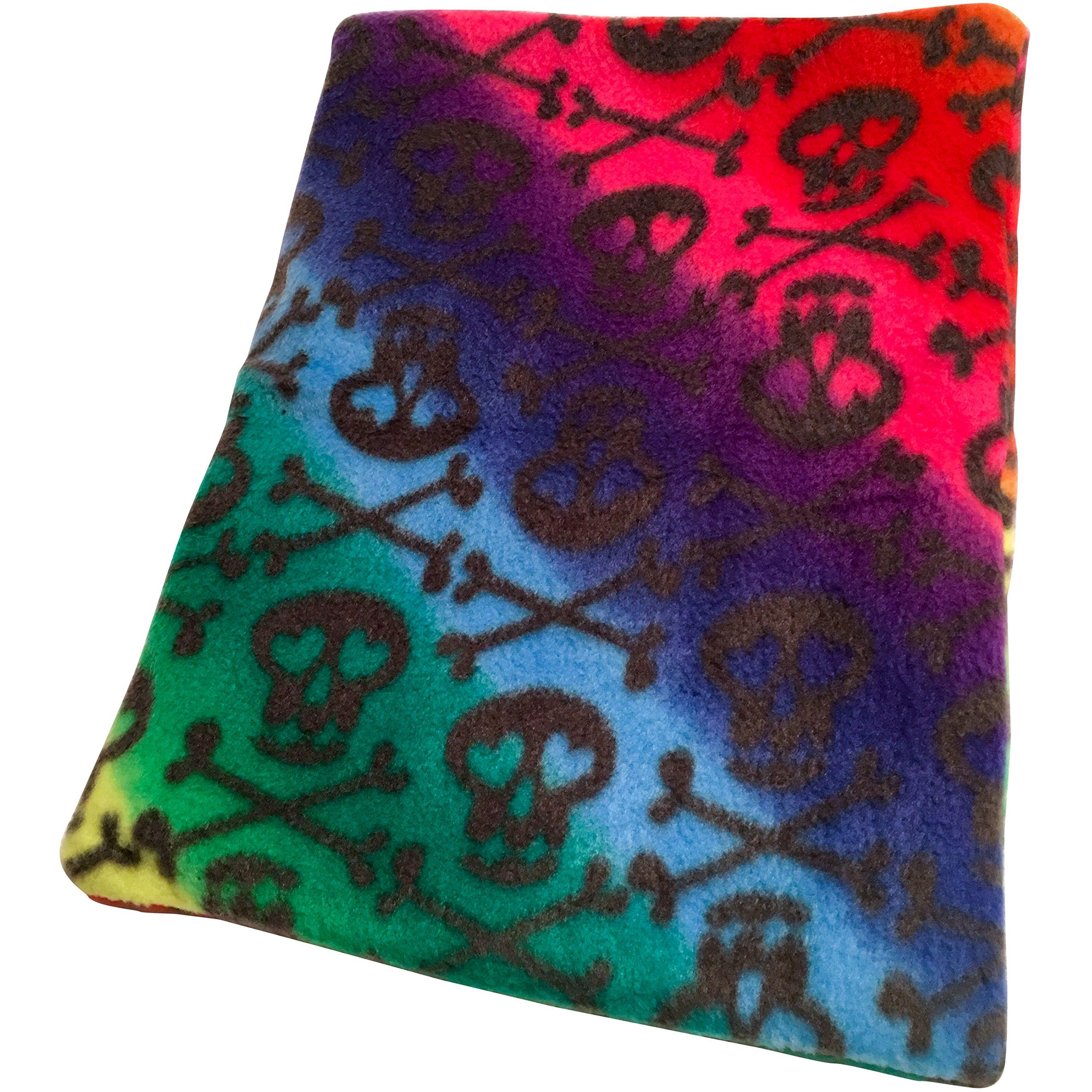 The Kozy Kritter Rainbow Color Skulls and Bones Fleece Snuggle Sack