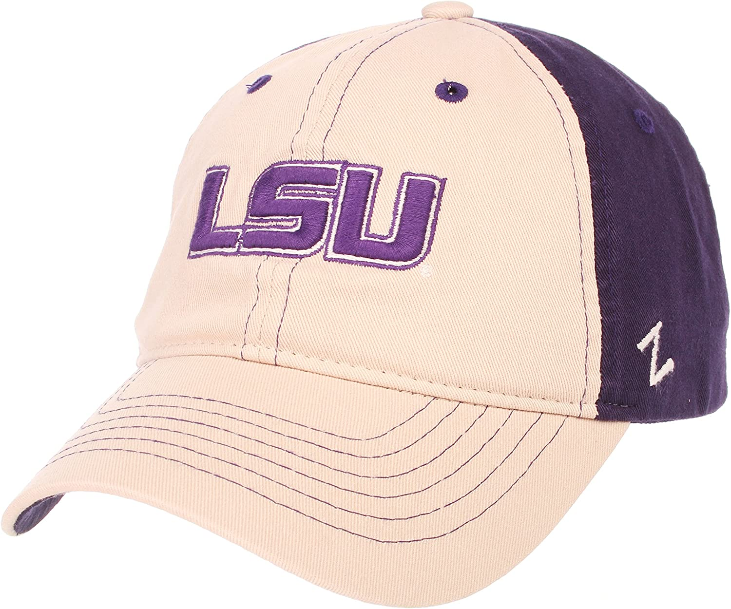 Stone//Team Color Adjustable NCAA Zephyr Lsu Tigers Mens The Dean Relaxed Hat