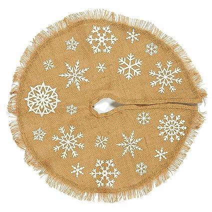 juvale christmas tree skirt circular cotton xmas tree decoration snowflake themed christmas tree