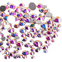 Jollin 3456pcs Flatback Rhinestones Glass Charms Diamantes Gems Stones for Nail Art 6 Size ss4~ss12 Crystal AB