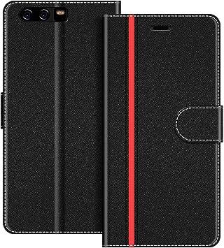 COODIO Funda Huawei P10 Plus con Tapa, Funda Movil Huawei P10 Plus, Funda Libro Huawei P10 Plus Carcasa Magnético Funda para Huawei P10 Plus, Negro/Rojo: Amazon.es: Electrónica