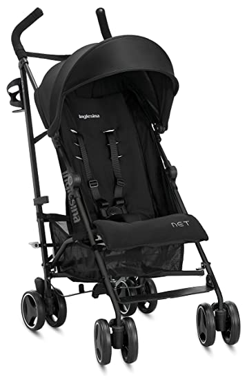Inglesina Net Stroller - Lightweight Summer Travel Stroller - UPF 50+ Protection Canopy with Removable and Washable Seat Pad {Black}