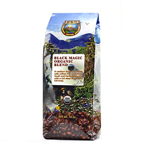 Java Planet - Black Magic USDA Organic Coffee Beans, Medium Dark Roast, Arabica Gourmet Coffee Grade A, packaged in 1 LB bag