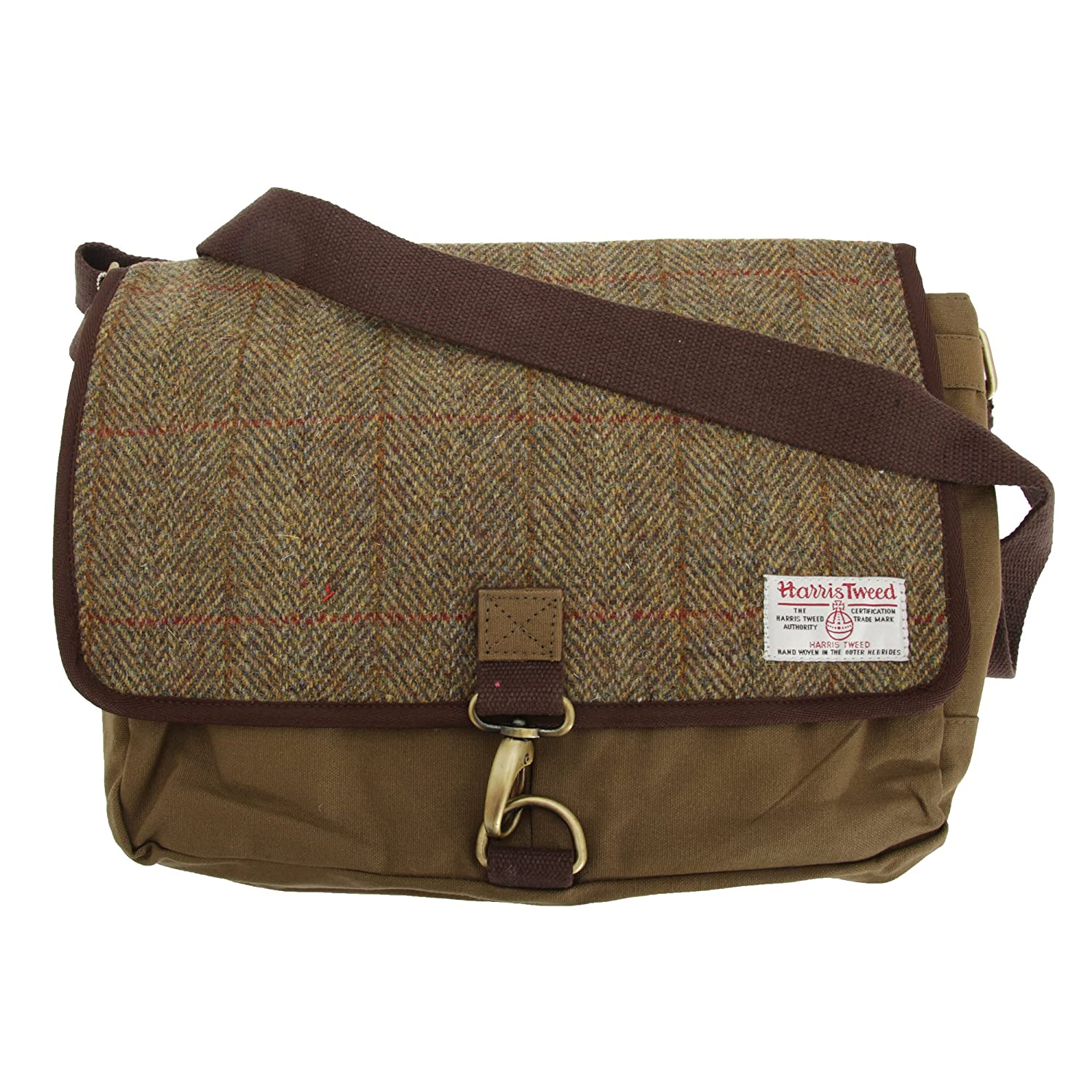 393bd665c4 Harris Tweed Mens Authentic Premium Shoulder Strap Despatch Bag (One Size)  (Khaki Green (Blue Stripe))  Amazon.co.uk  Clothing