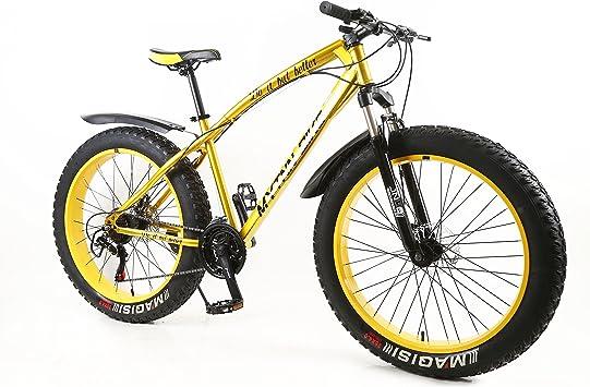 MYTNN Fatbike - Bicicleta de montaña de 26 pulgadas, 21 marchas, Shimano Fat Tyre 2020, 47 cm, color Marco dorado/llantas amarillas., tamaño 26 pulgadas, tamaño de cuadro 47.00, tamaño de rueda 66.04: Amazon.es: Deportes y aire libre