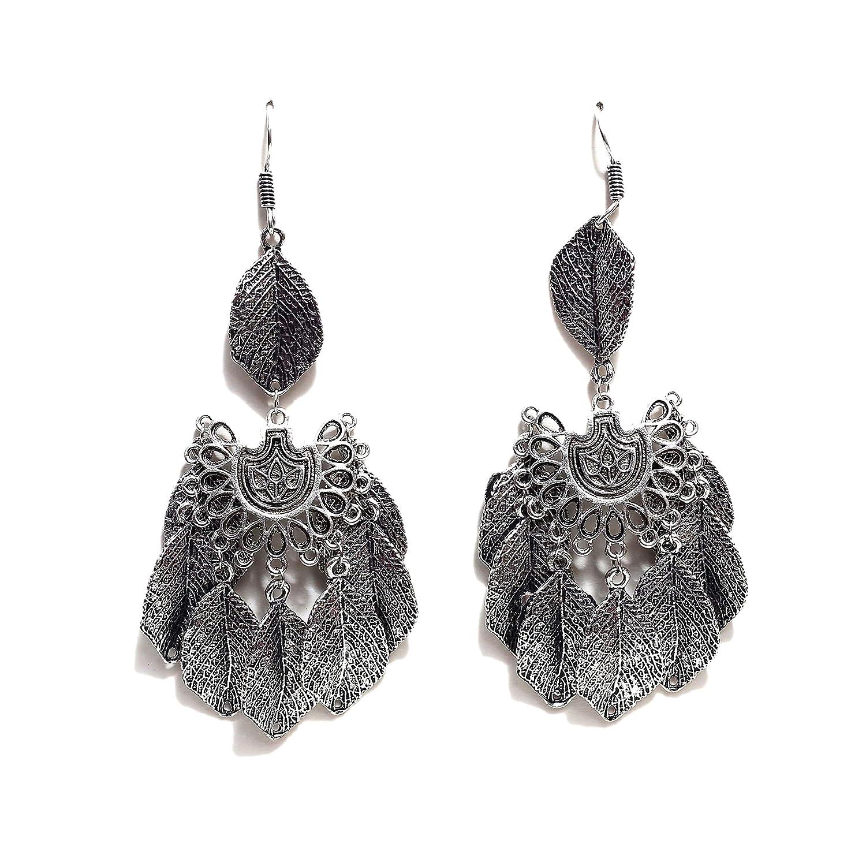 b54a1dc94 Amazon.com: Gypsy Black Metal Earrings Oxidized Tribal Earrings Ethnic  Western Earrings Bohemian Jhumka Jhumki Bollywood Style Diwali Earrings for  Women ...