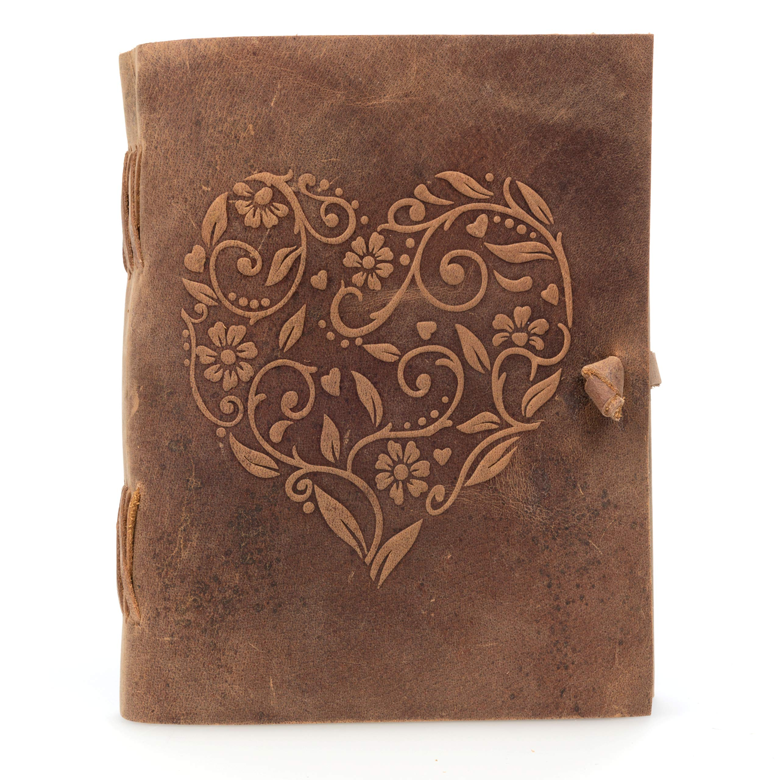 Genuine Leather Journal for Women - Beautiful Handmade Leather Bound Notebook with Embossed Heart Cover - for Daily Drawing and Sketching - Perfect 8 x 6 Inches Size for Travel or Writing on The Go by Moonster