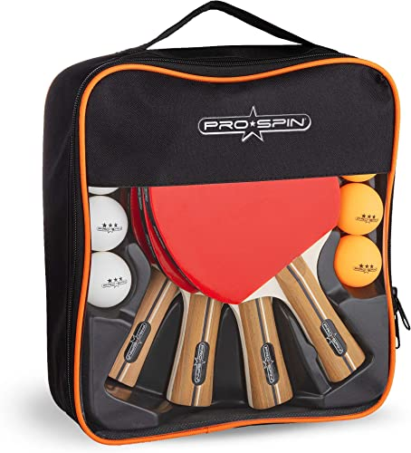 PRO SPIN Ping Pong Paddles – High-Performance Set of 4 Table Tennis Rackets, 8 Ping Pong Balls 3-Star , Premium Carrying Case Professional Ping Pong Paddle Set for All Levels Indoor Outdoor Games