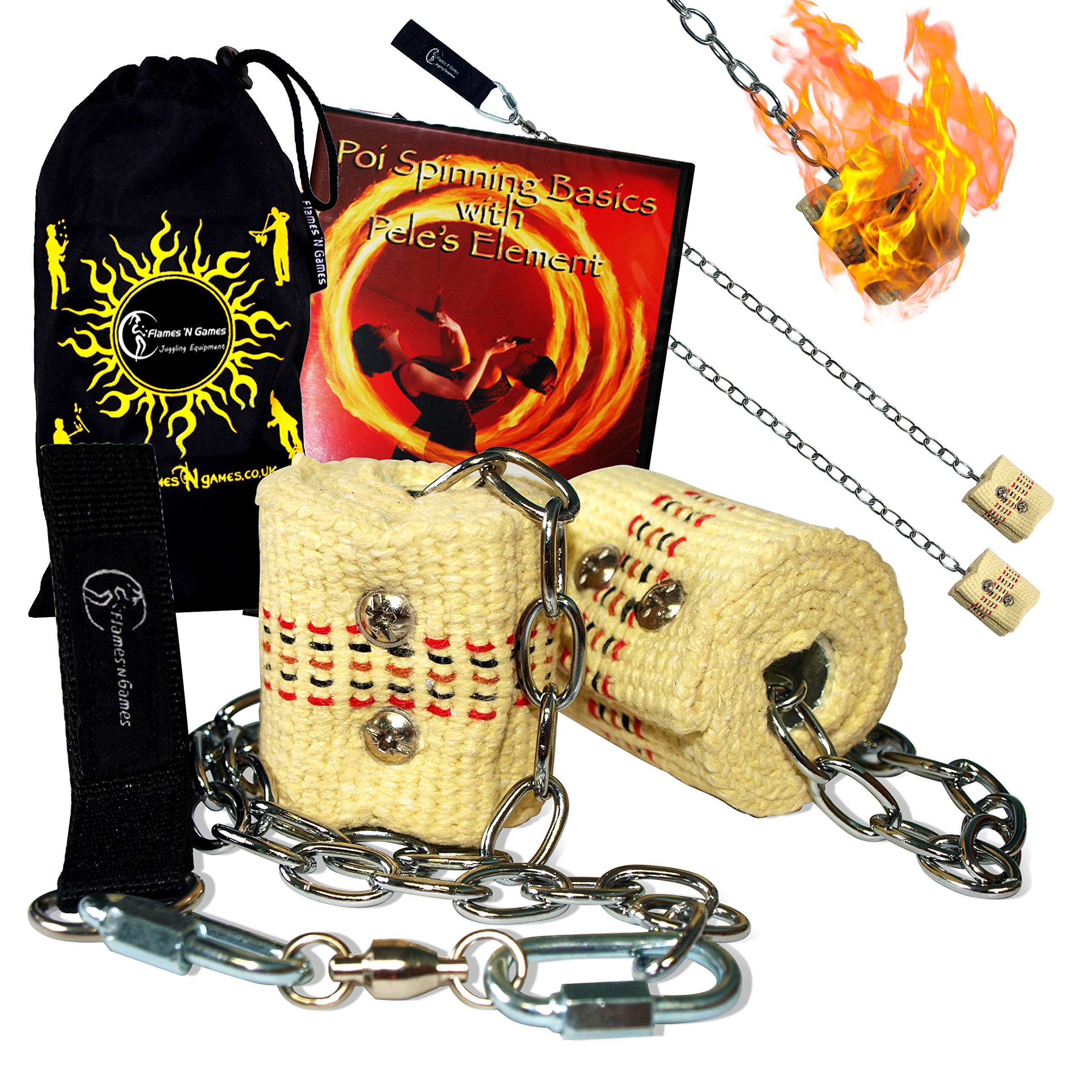 STARTER Fire Poi Set - 2x45mm Wicks + Adventures In Poi DVD + Flames N Games Travel Bag! by Flames N Games Fire Poi