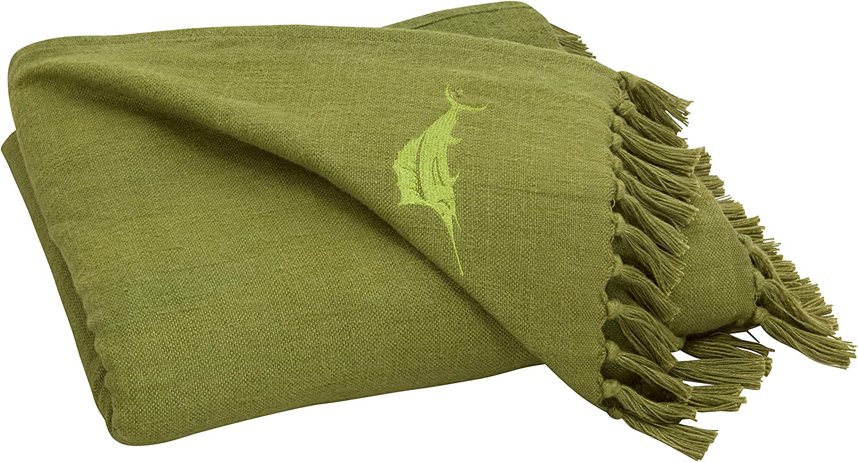 Tommy Bahama Canvas Fringe Throw Blanket, 50 x 60, Green