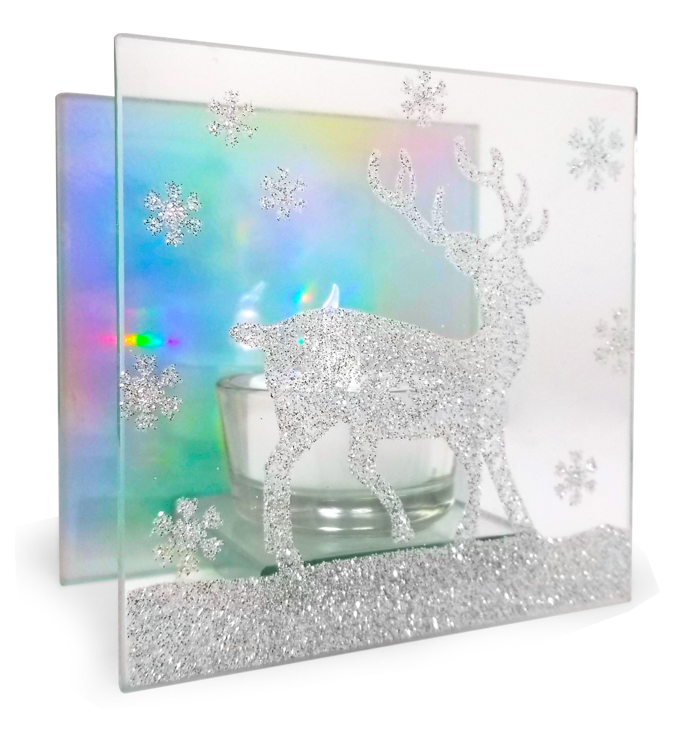 Banberry Designs Christmas Candleholder - Glittered Reindeer Silhouette on a Glass Infinity Holder - Rainbow Reflection Lights