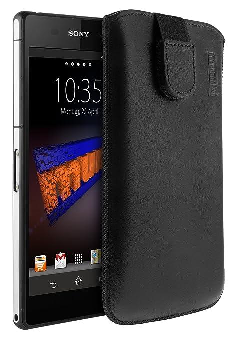 mumbi ECHT Ledertasche für Sony Xperia Z2 Tasche Leder Etui (Lasche mit Rückzugfunktion Ausziehhilfe)