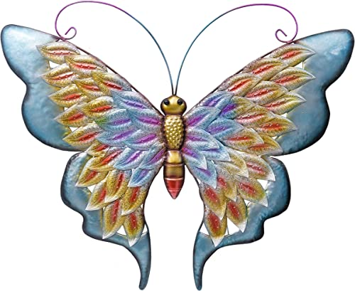 TERESA S COLLECTIONS 20 Inch Butterfly Metal Wall Art Decor Vivid Butterfly Wall Sculptures for Home Living Room Bathroom Bedroom Garden Decoration