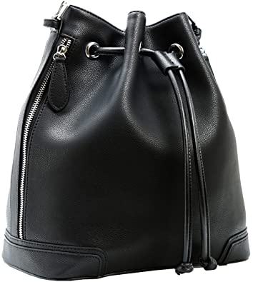 46f541e2a82a Kenoor Leather Drawstring Bucket Bag Retro Handbags Shoulder Bag Purses  Crossbody Bags For Women with Long