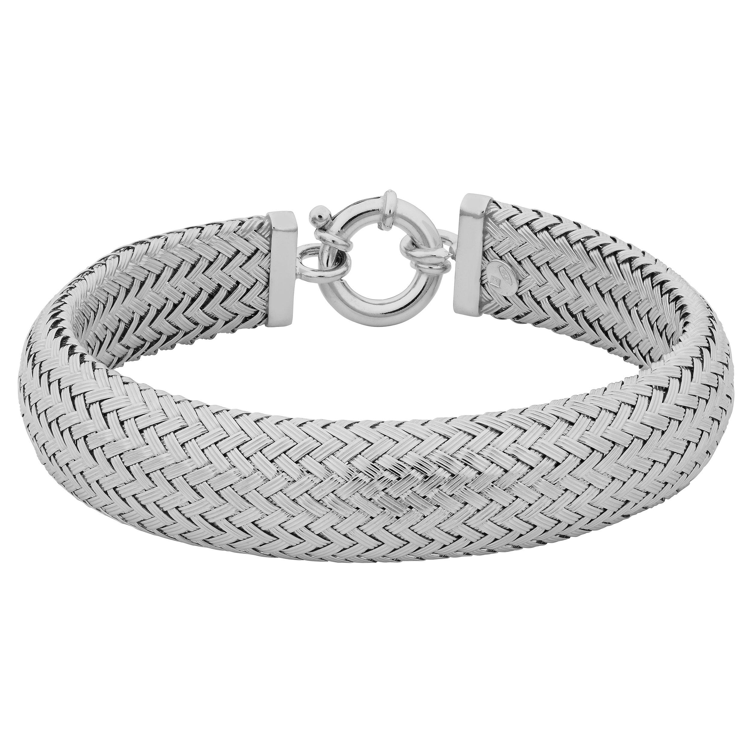 Sterling Silver 14mm Woven Cuff Bracelet (7.5 inch)