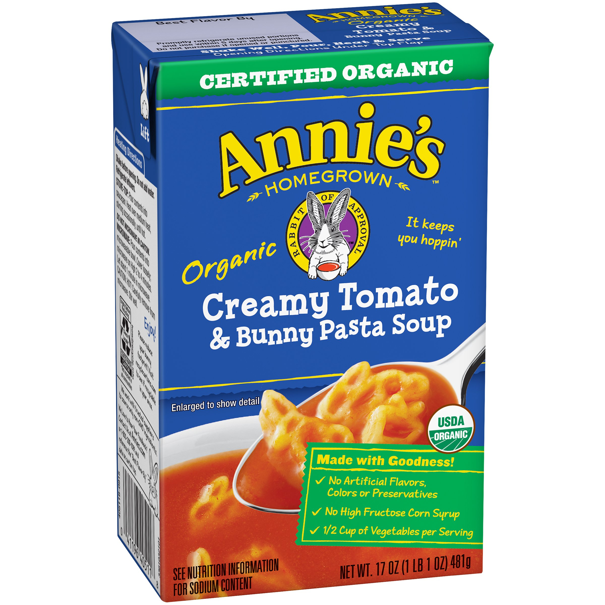 Annie's Homegrown Organic Soup - Creamy Tomato and Bunny Pasta - 17 oz.