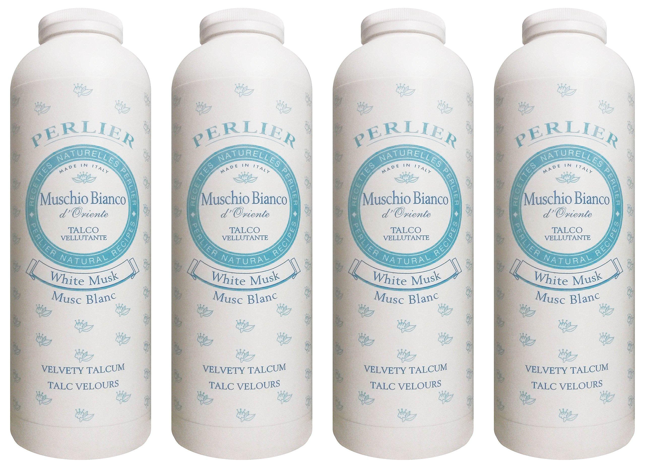 Perlier:''Muschio Bianco d'Oriente'' Velvety Talcum Powder, White Musk Scent - 3.5 Ounce (100g) Bottles (Pack of 4) [ Italian Import ]