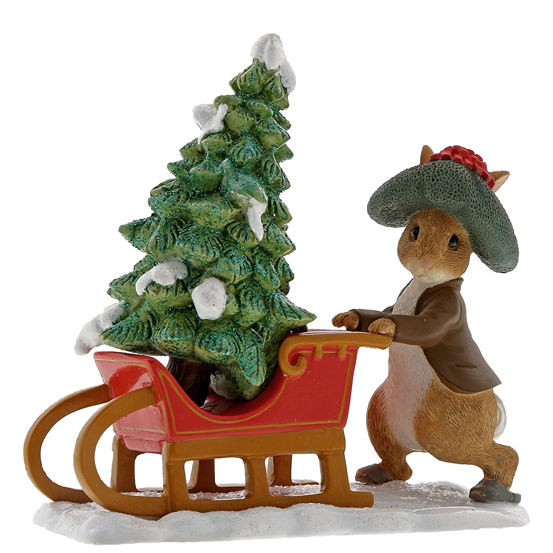 Beatrix Potter Benjamin Bunny Preparing for Christmas Figurine Enesco A29385
