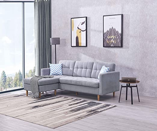 EiioX Linen Fabric Sectional Sofa L-Shape Couch, Mid-Century Modern Chaise Lounge for Living Room, 59.4