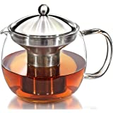 Teapot Kettle with Warmer - Tea Pot and Tea Strainer Set - Glass Tea Maker Infuser Holds 3-4 Cups Loose Leaf Iced Blooming or Flowering Tea