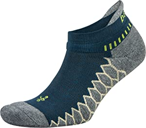 Balega Silver Antimicrobial No-Show Compression-Fit Running Socks for Men and Women (1 Pair), Midgrey/Neon Lime, X-Large