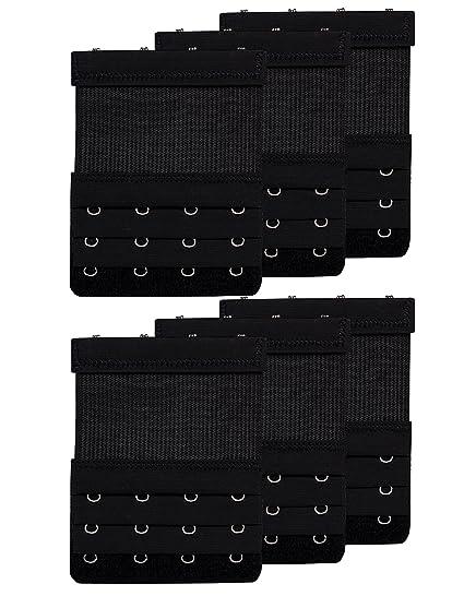 7cba881cfd6 Women Bras Strap Extension Elastic Bra Extender 4 Hook for Plus Size Black  6pcs
