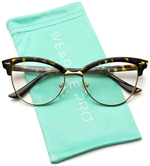 0b1b5eb307 Amazon.com  WearMe Pro - New Semi-Rimless Retro Cat Eye Glasses ...