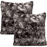 Chanasya Super Soft Fuzzy Faux Fur Cozy Warm Fluffy Dark Gray Fur Throw Pillow Cover Pillow Sham -Charcoal Gray Pillow…