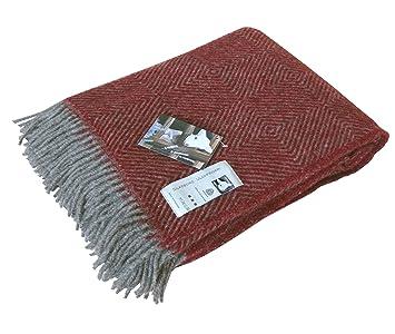 Plaid rayé à chevron gris-rouge pure laine, 130 cm x 200 cm  Amazon ... 4c1c9371f6c