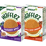 Sprout Organic Baby Food, Stage 4 Toddler Snacks, Blueberry Apple and Apple Cinnamon Wafflez Variety Pack, Single Serve Waffl