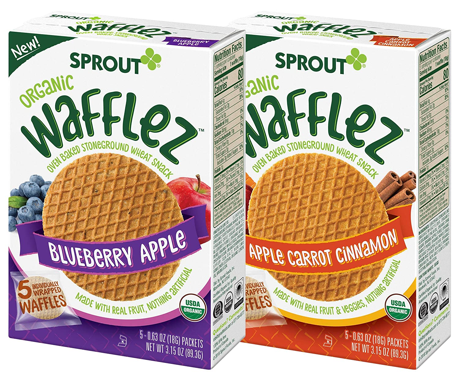Sprout Organic Baby Food, Stage 4 Toddler Snacks, Blueberry Apple and Apple Cinnamon Wafflez Variety Pack, Single Serve Waffles (20 Count)