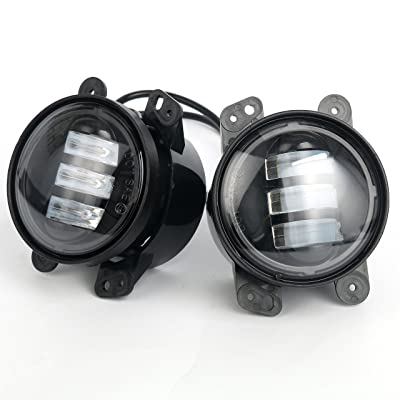 "2pcs 4"" 60W Led Fog Lights Led Fog Lamps Bulb Headlight Driving Lamp Compatible with Jeep Wrangler Dodge Front Bumper Lights: Automotive"